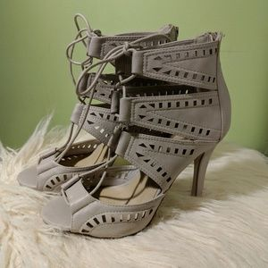 Lulu's Lace-up, Cut-out Heels
